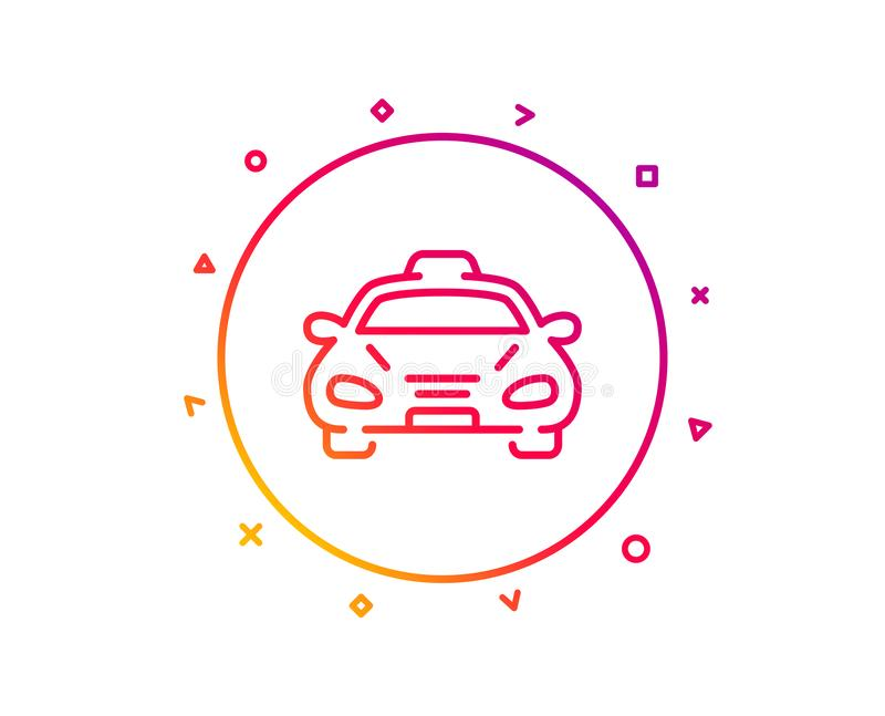Taxi cab transport line icon. Car vehicle sign. Vector. Taxi cab transport line icon. Car vehicle sign. Taxicab driving symbol. Gradient pattern line button stock illustration