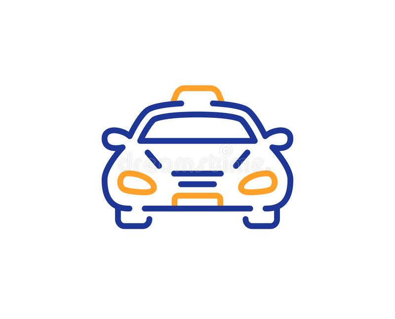 Taxi cab transport line icon. Car vehicle sign. Vector. Taxi cab transport line icon. Car vehicle sign. Taxicab driving symbol. Colorful outline concept. Blue royalty free illustration