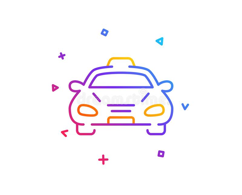 Taxi cab transport line icon. Car vehicle sign. Vector. Taxi cab transport line icon. Car vehicle sign. Taxicab driving symbol. Gradient line button. Taxi icon stock illustration