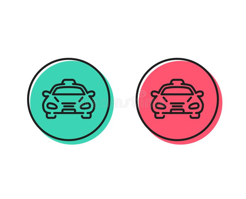 Taxi cab transport line icon. Car vehicle sign. Vector. Taxi cab transport line icon. Car vehicle sign. Taxicab driving symbol. Positive and negative circle stock illustration