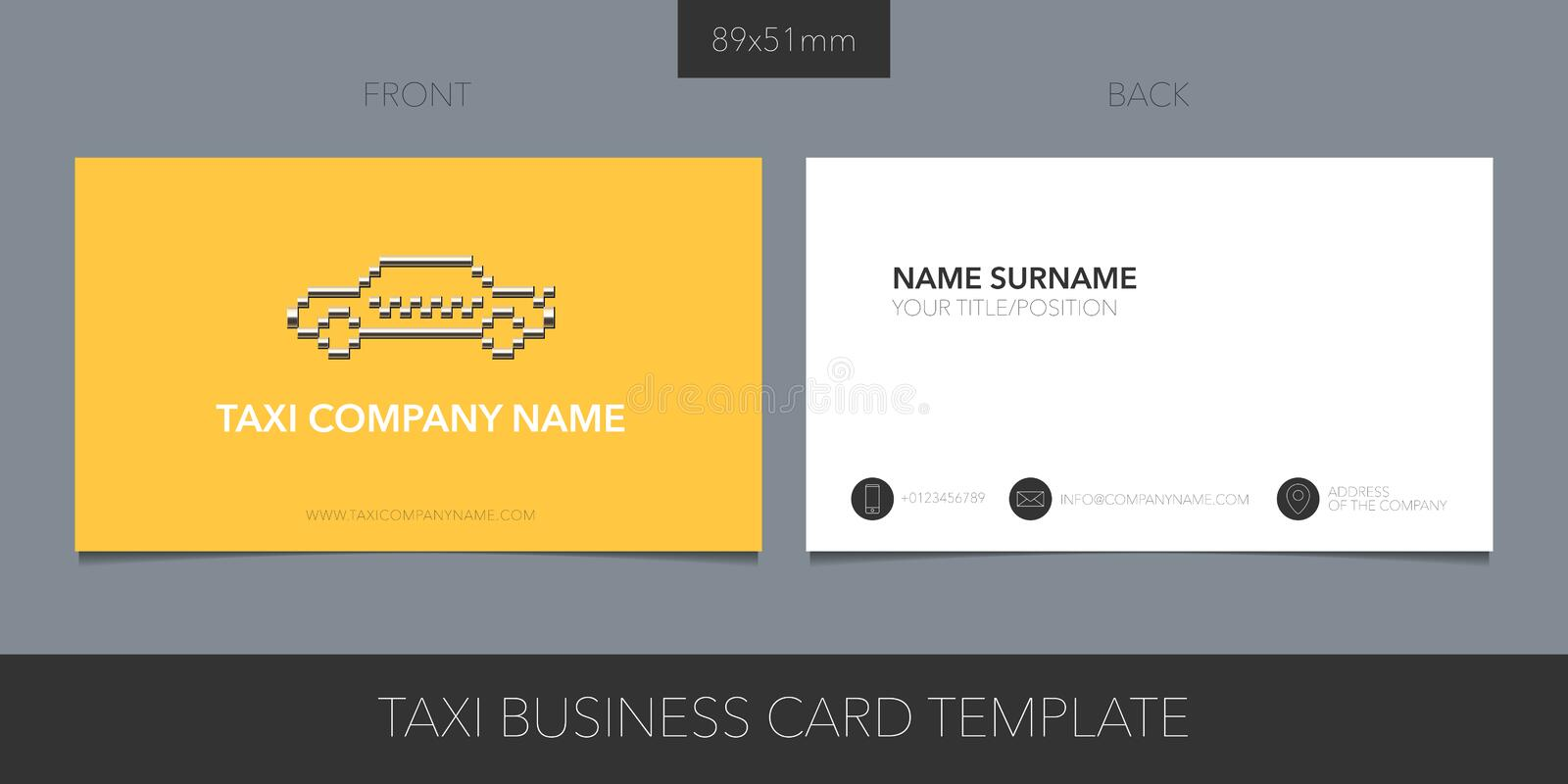 Taxi, cab vector business card layout. Blank contact information and creative logo. With car silhouette. Car hire corporate symbol royalty free illustration