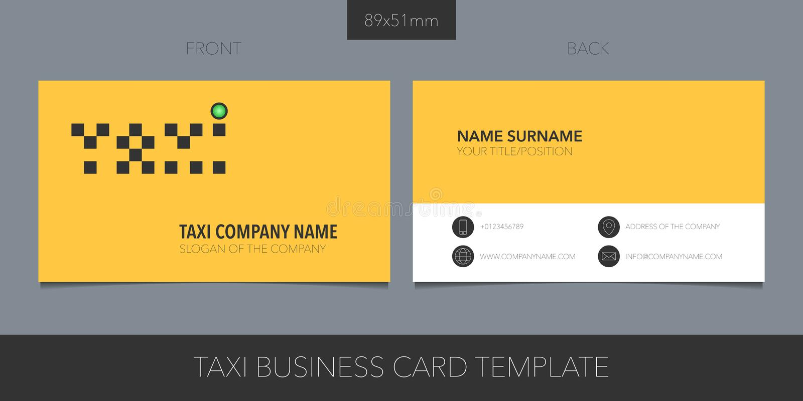 Taxi, cab vector business card layout. Template contact information and creative logo. With checkers. Car hire corporate symbol stock illustration
