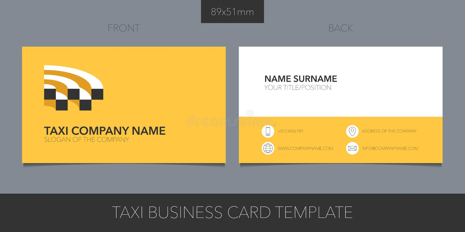Taxi, cab vector business card layout. Template contact information and logo. Car hire symbol and taxi checkers stock illustration
