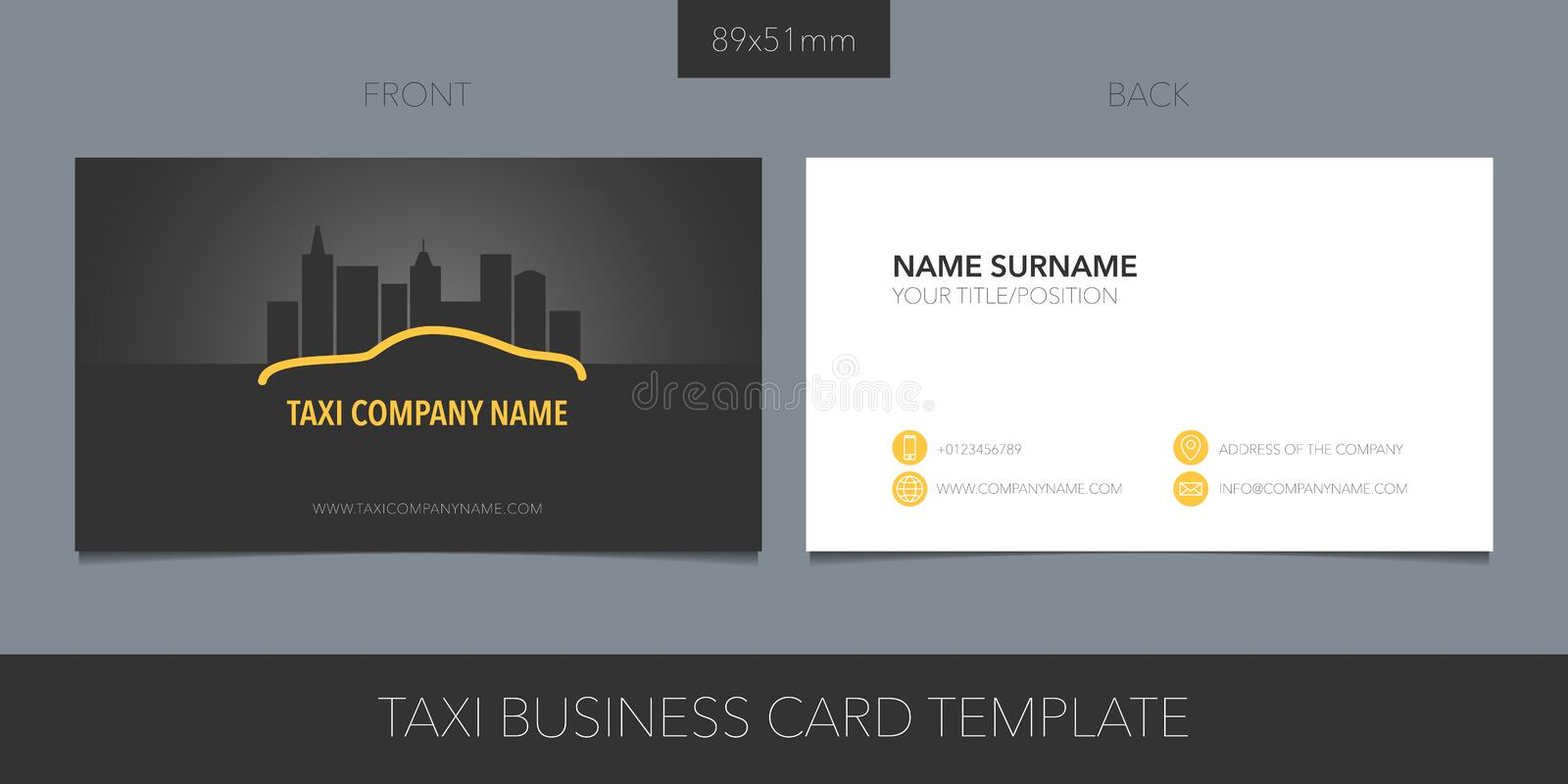 PrintTaxi, cab vector business card layout. Template contact information and logo. Taxi, cab vector business card layout. Template contact information and logo royalty free illustration