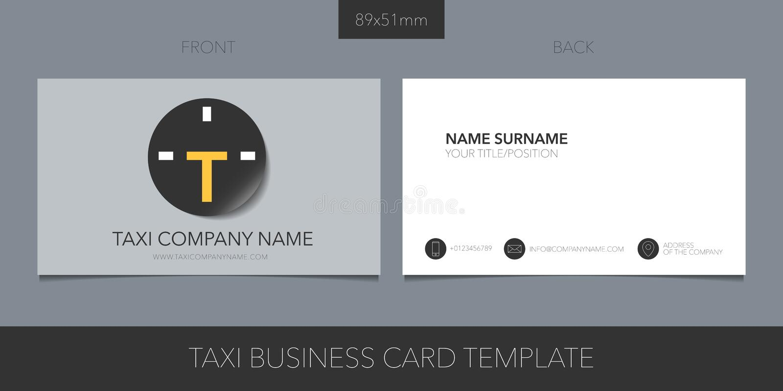 Taxi, cab vector business card with logo, icon and blank contact details, name royalty free illustration