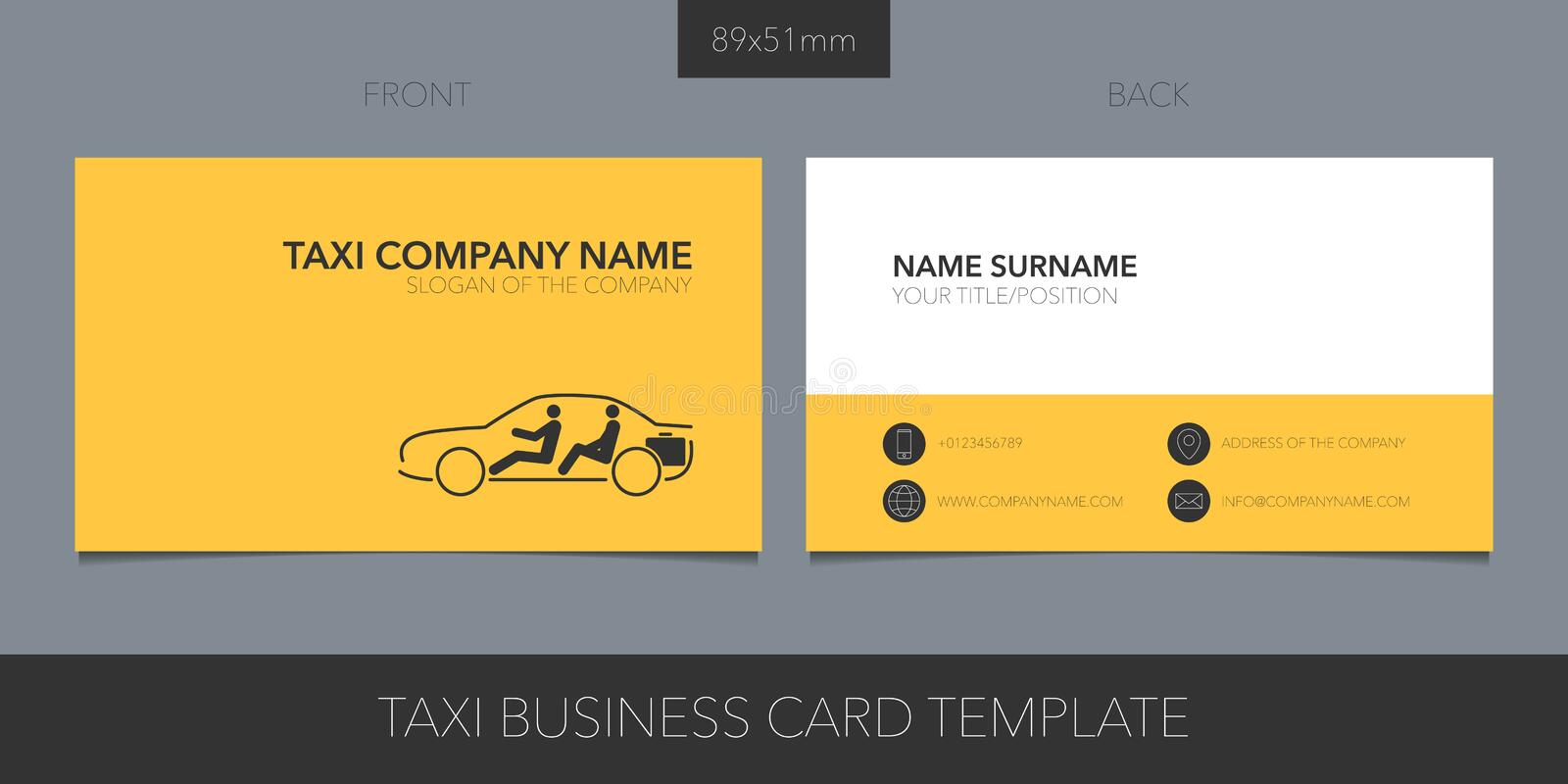 Taxi, cab vector business card with logo, icon and contact details. vector illustration