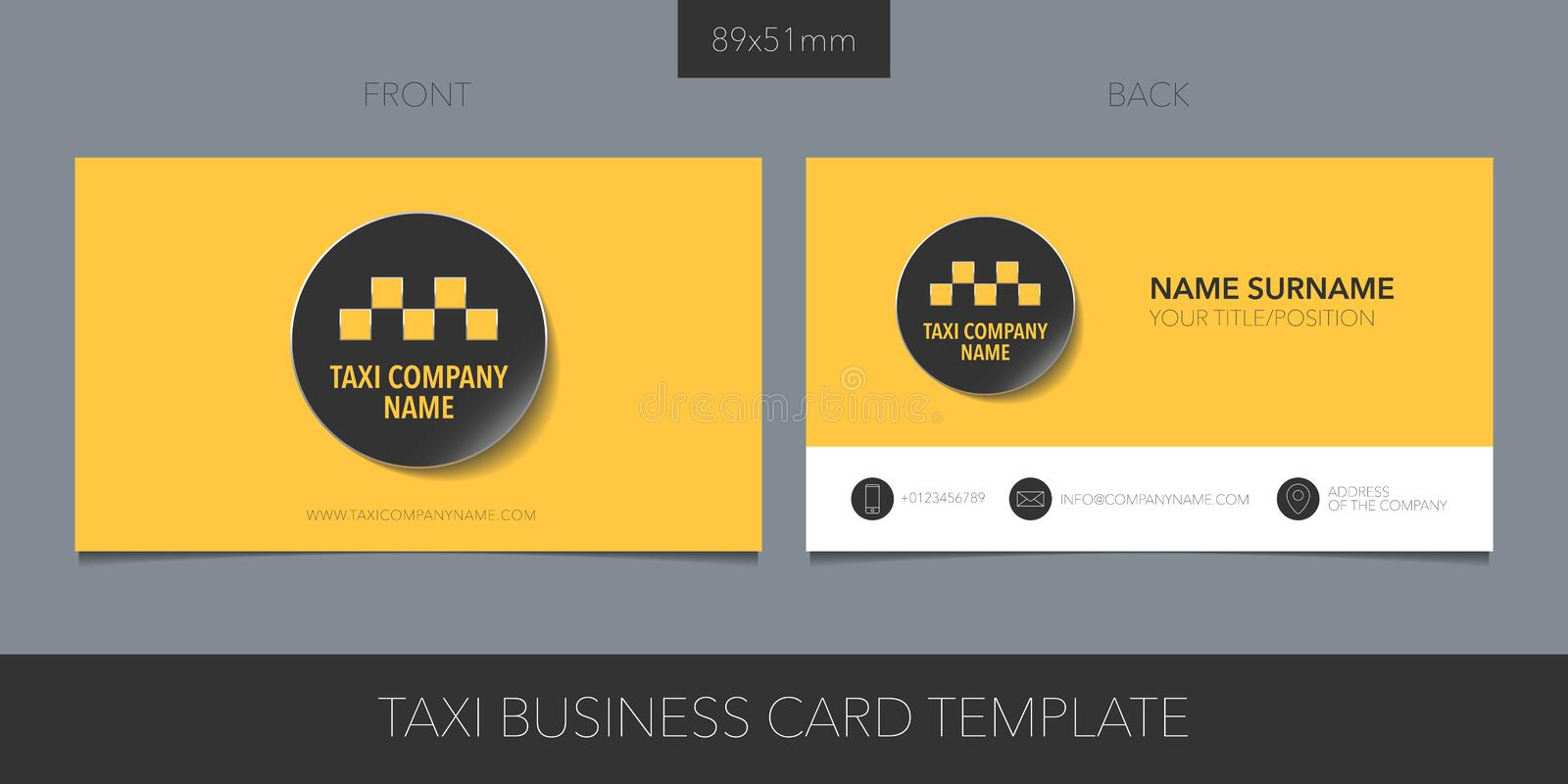PrintTaxi, cab vector business card with logo, icon and template contacts details, name stock illustration