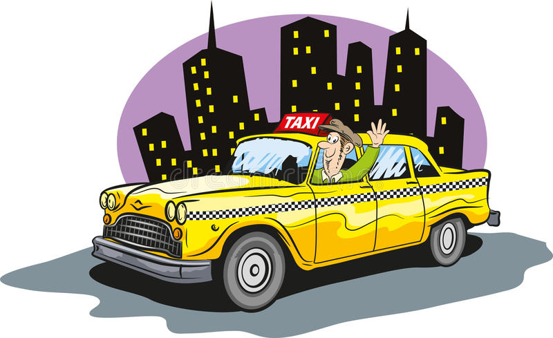 Taxi cab. Vector illustration of taxi cab driver stock illustration