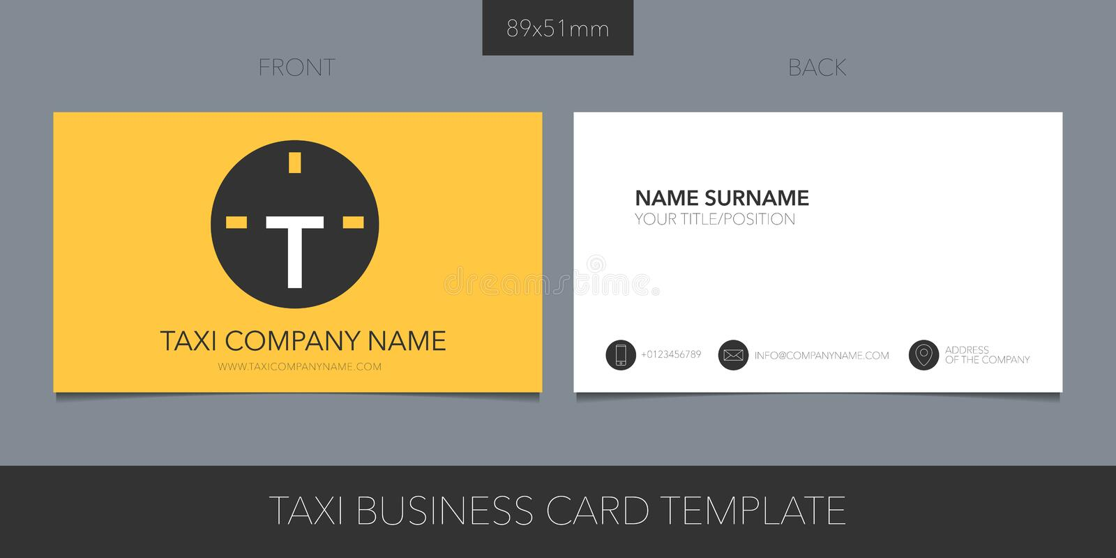 PrintTaxi, cab vector layout of business card with logo, icon and template corporate details vector illustration