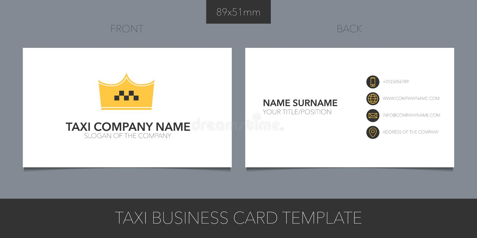 Taxi, cab vector layout of business card with logo, icon and template corporate details vector illustration