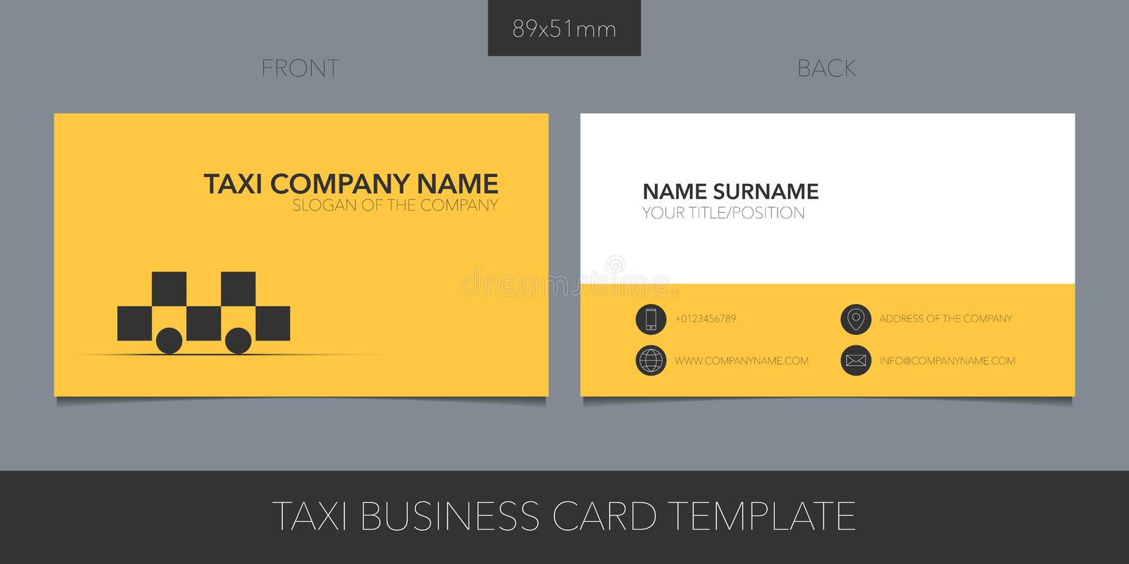 Taxi, cab vector template business card with corporate logo, symbol and contact details stock illustration