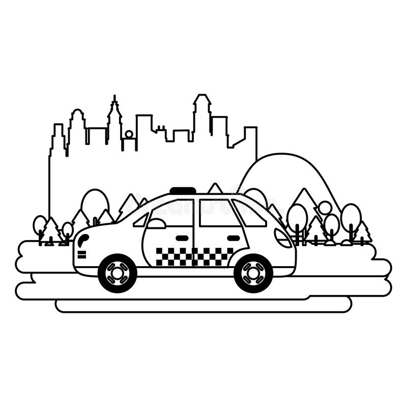 Taxi cab vehicle isolated black and white. Taxi cab vehicle isolated passing by city vector illustration graphic design stock illustration