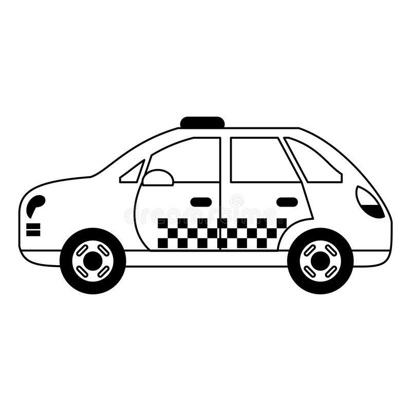 Taxi cab vehicle isolated black and white. Taxi cab vehicle isolated vector illustration graphic design royalty free illustration