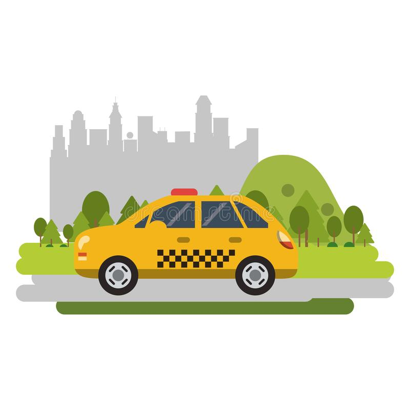 Taxi cab vehicle isolated flat. Taxi cab vehicle isolated passing by city vector illustration graphic design royalty free illustration