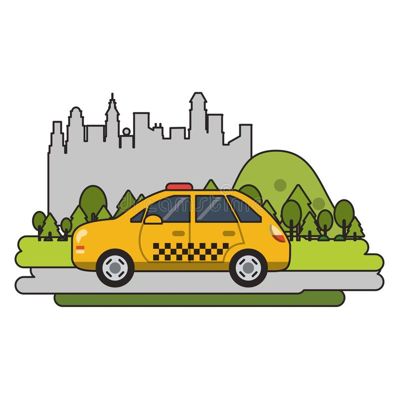 Taxi cab vehicle isolated. Passing by city vector illustration graphic design stock illustration