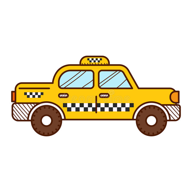 Taxi cab. On white background vector illustration