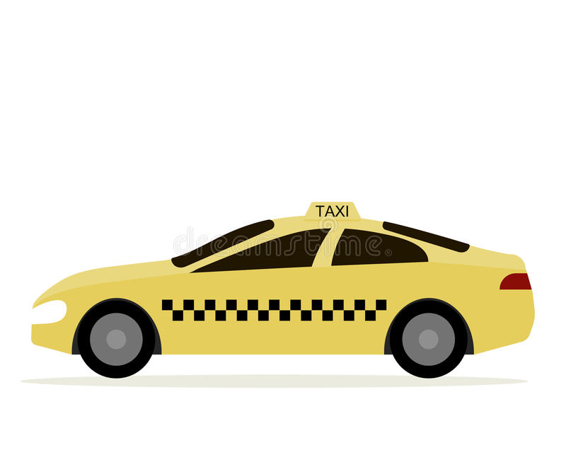 Taxi Cab. Yellow car taxi driver icon. Vector illustration flat design royalty free illustration