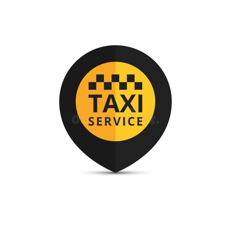 Taxi, cabineembleem, ontwerp Het grafische pictogram van het taxipunt Vector illustratie stock illustratie