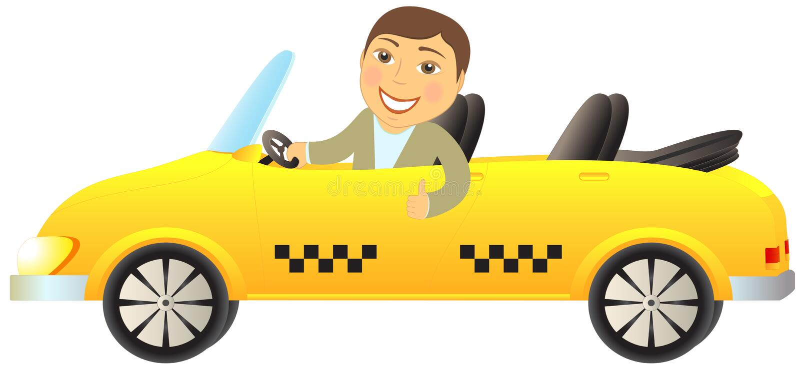 Download Taxi Cabriolet With Man Showing Thumb Up Stock Vector - Image: 25077050