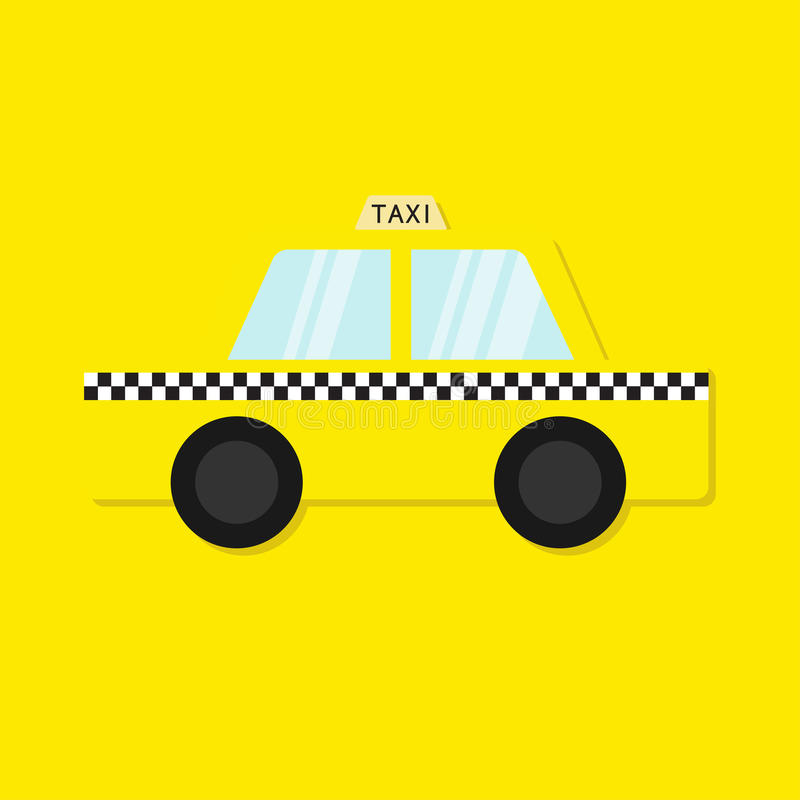 Taxi car cab icon. Cartoon transportation collection. Taxicab. Checker line, light sign. New York symbol. Isolated. Yellow backgro. Und. Vector illustration royalty free illustration