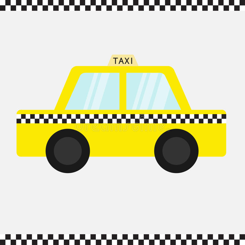 Taxi car cab icon. Cartoon transportation collection. Yellow taxicab. Checker line frame, light sign. New York symbol. . W. Hite background. Vector illustration royalty free illustration