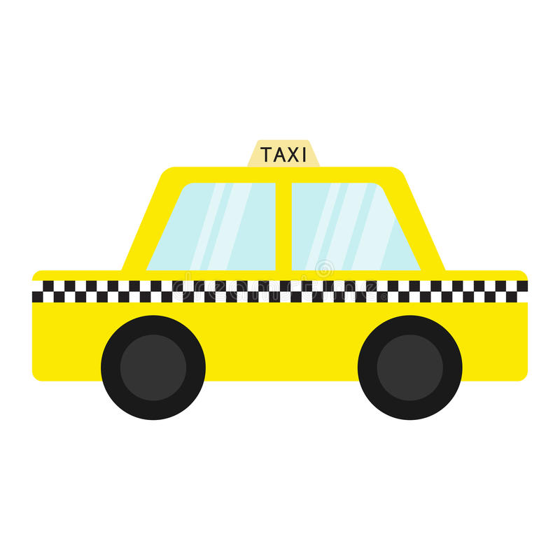 Taxi car cab icon. Cartoon transportation collection. Yellow taxicab. Checker line, light sign. New York symbol. Isolated. White b. Ackground. Vector royalty free illustration