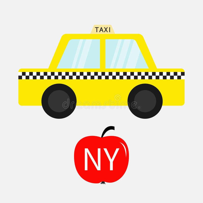 Taxi car cab icon. Red apple fruit. New York symbol. Cartoon transportation collection. Yellow taxicab. Checker line, light sign. Isolated. White background royalty free illustration