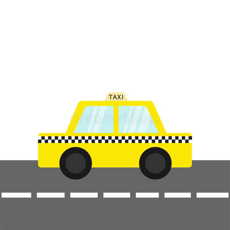 Taxi car cab icon on the road. Cartoon transportation collection. Yellow taxicab. Checker line, light sign. New York symbol. Isola vector illustration