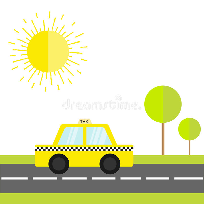 Taxi car cab icon on the road. Green grass, tree, shining sun. Cartoon transportation collection. Yellow taxicab. Checker line, li. Ght sign. New York symbol vector illustration