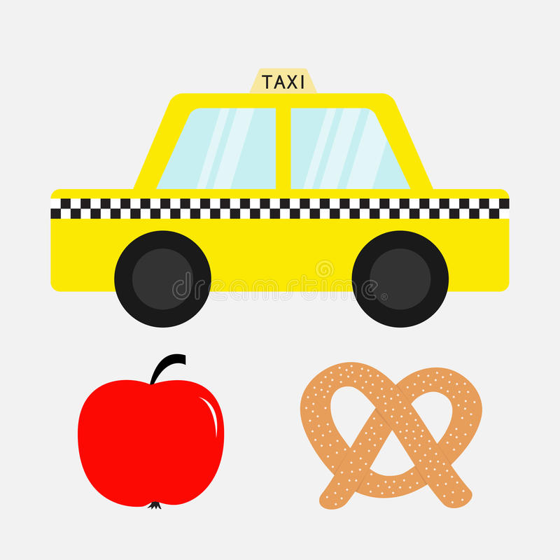 Taxi car cab icon. Soft pretzel bakery. Red apple fruit. New York symbol. Cartoon transportation collection. Yellow taxicab. Check. Er line, light sign. Isolated vector illustration