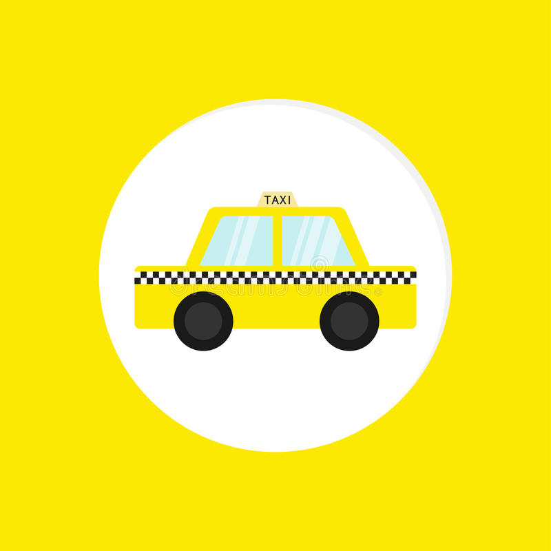 Taxi car cab round icon. Cartoon transportation collection. Taxicab. Checker line, light sign. New York symbol. . Yellow b. Ackground. Vector illustration royalty free illustration