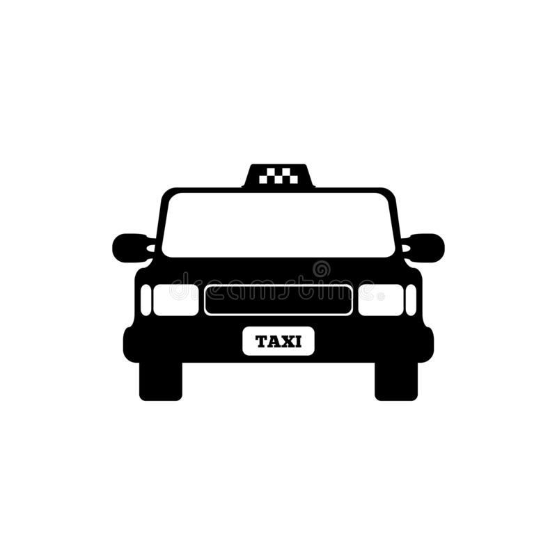 Taxi car front view. Isolated icon, logo, symbol. Vector illustration. vector illustration