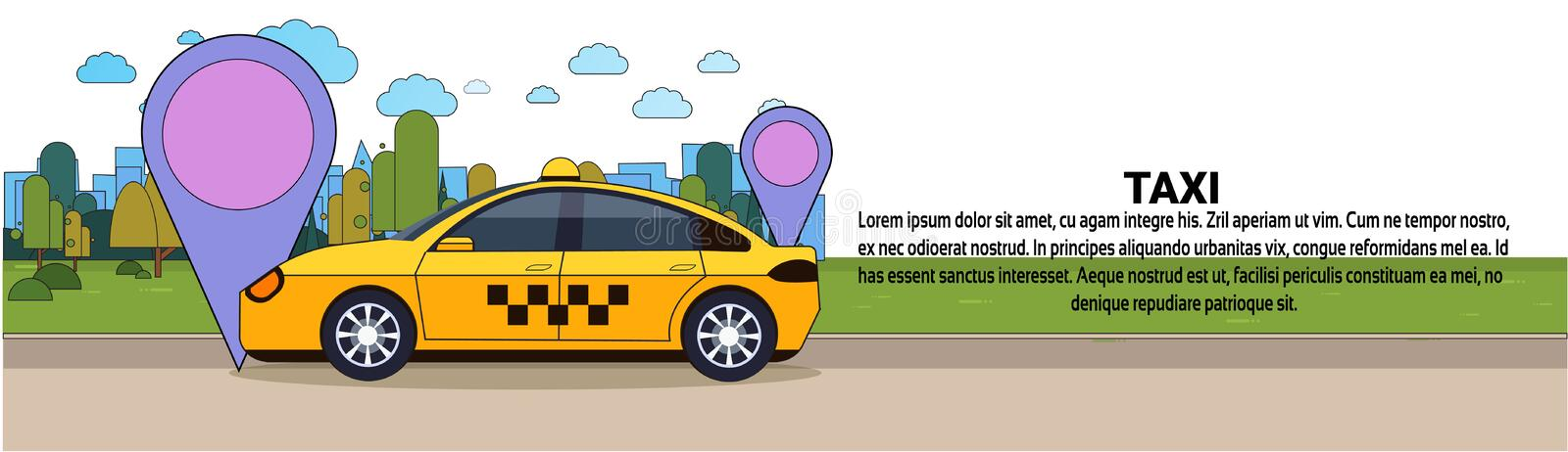 Taxi Car With Gps Location Sign Online Cab Service Concept Horizontal Banner. Flat Vector Illustration royalty free illustration