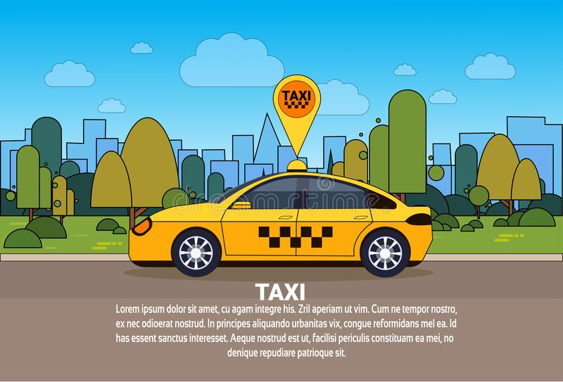 Taxi Car With Gps Location Sign On Order Route Online Cab Service Concept. Flat Vector Illustration vector illustration