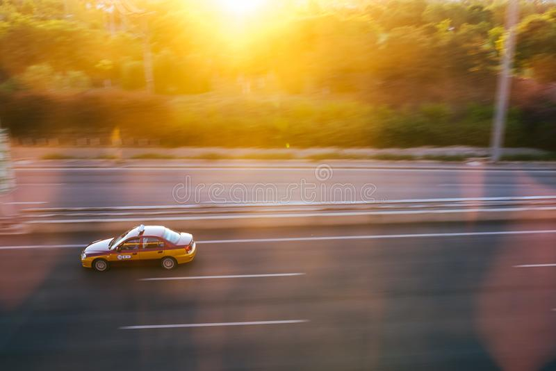 Taxi car on highway to Beijing Capital Airport, China royalty free stock image