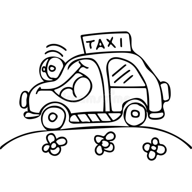 Download Taxi Car Kids Coloring Pages Stock Illustration