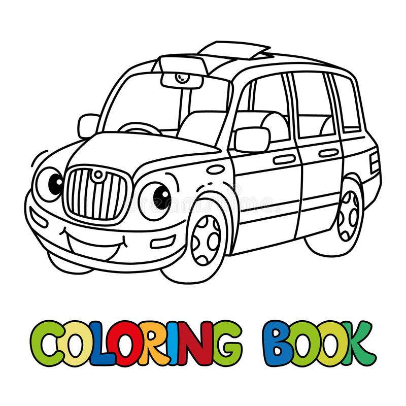 Funny small taxi car or London cab. Coloring book stock illustration