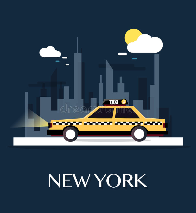 Taxi Car with New York City royalty free illustration