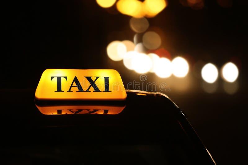 Taxi car on night street, close up royalty free stock photos