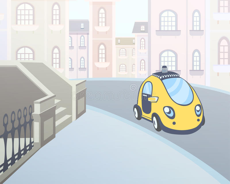 Taxi car parked at a house entrance in the street of the city. Vector illustration. stock illustration