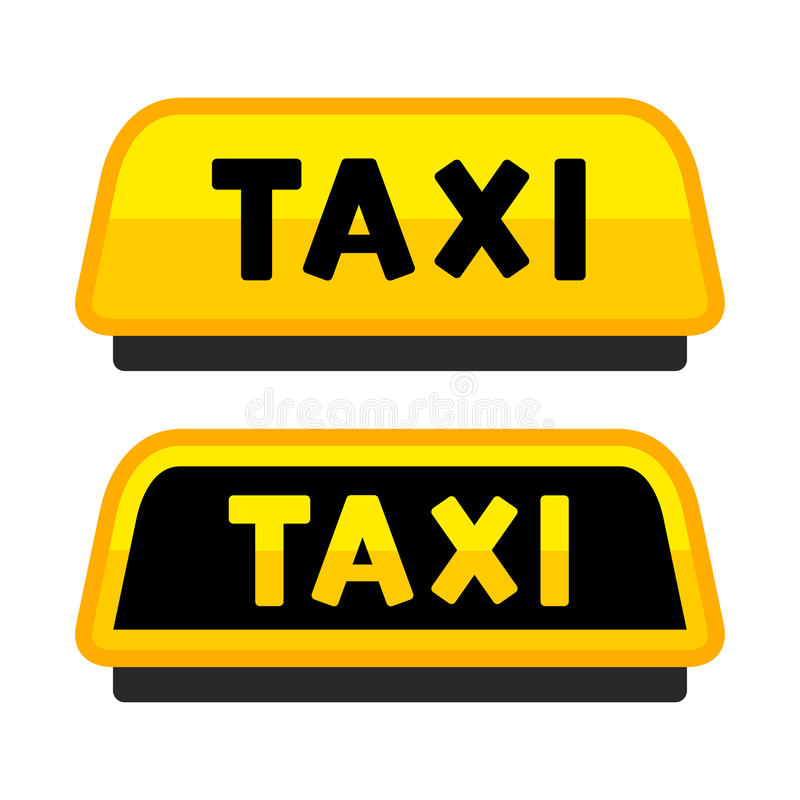 Taxi Car Roof Sign. Logo Label Set. Vector royalty free illustration