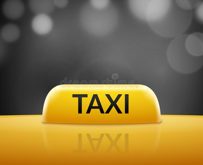 Taxi car sign on bokeh background. Taxi cab sign and roof car. Vector transportation service illustration. Taxi car sign on bokeh background. Taxi cab sign and vector illustration