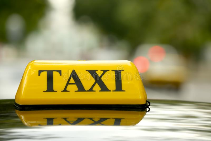 Taxi car on street, close up royalty free stock photography