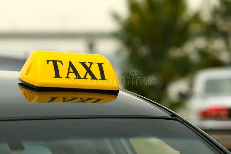 Taxi car on street, close up stock photos