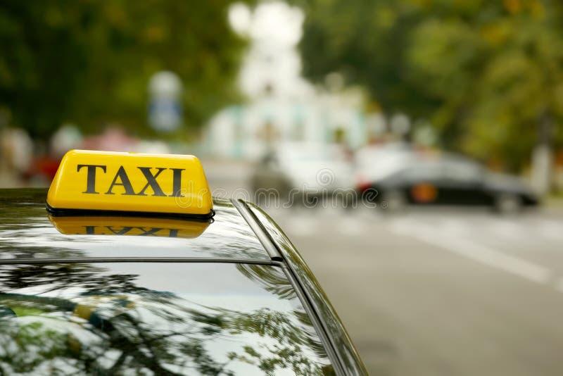 Taxi car on street, close up stock image