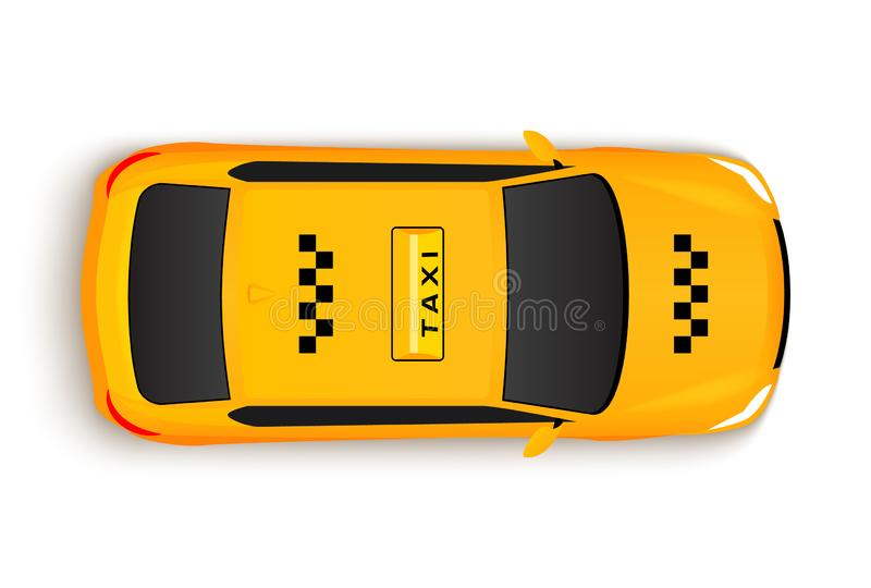 Taxi car top view cab. Vector yellow taxi car illustration vehicle.  stock illustration
