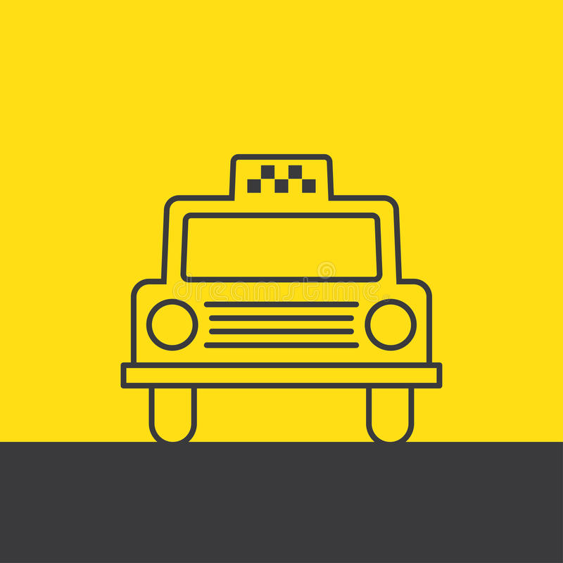 Taxi car vector illustration. Cab car silhouette on yellow taxi icon. passenger transportation symbol stock illustration