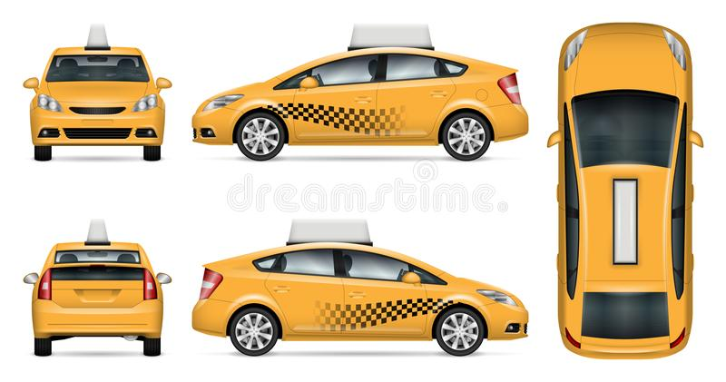 Taxi car vector mock-up. Taxi cab vector mock up for advertising, corporate identity. template of city car on white background. Vehicle branding mockup. Easy to royalty free illustration