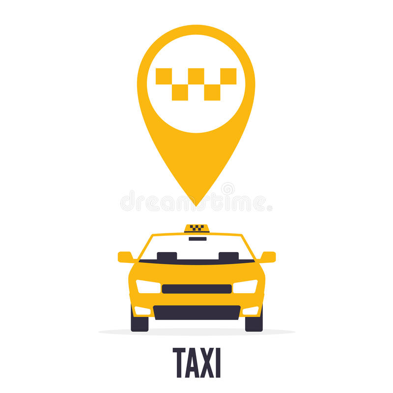Taxi car on white background and yellow gps pointer map with taxi icon. royalty free stock images