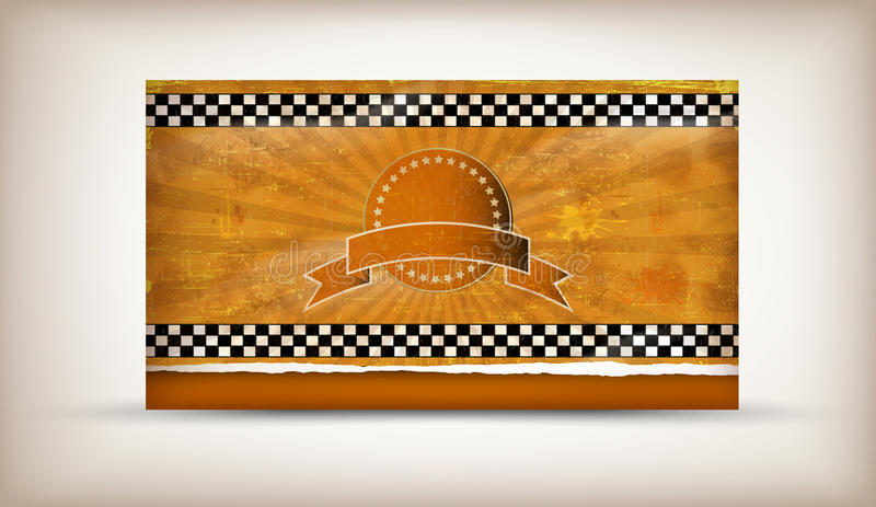 Taxi-Card. Old grunge flag of taxi background stock illustration